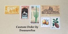 Reserved Custom Order for  m1guez. Unused Vintage US Postage Stamps for Baby Shower. by TreasureFox on Etsy