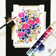 Floras before I go to the Stabilo event   #calligrafikas #watercolor  Paper: Calligrapads watercolor paper sampler Paint: Dr. Ph Martin's radiant concentrated watercolor Brush: Pebeo round no 10