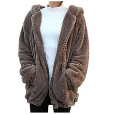 Women's Casual Jackets - Soly Tech Women Hoodies Winter Loose Fluffy Ears Hooded Jacket Outerwear Coat ** Visit the image link more details.