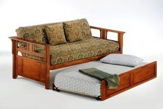Beautiful trundle solid wood daybed with cushions