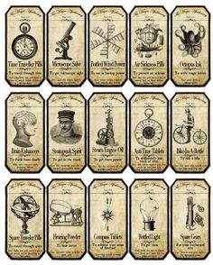 Halloween steampunk apothecary label stickers