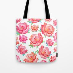 Tote bag inspired from Peonies! Watercolor Peony, Peony Flower, Spring Flowers, Pouches, Wood Art, Peonies, Totes, Blush, Reusable Tote Bags