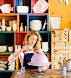 Pottery creating and painting at Hands-on-Art Studio in Door County, Wisconsin