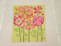 PINK FLOWERS-MELISSA SHIRLEY-HANDPAINTED NEEDLEPOINT CANVAS