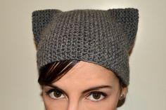 Kitty hat cat ears 100 warm wool crochet knit by petiterobelenoir, $28.00