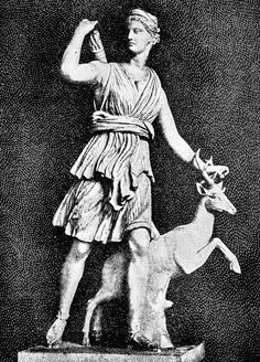 Diana goddess of the hunt who was worshipped on August 13th-15th in Rome by women carrying flowers to the lake of Nemi and offering votives.