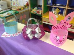 Easter Baskets made out of Milk Jugs! A good way to teach kids how to recycle and reuse milk jugs.