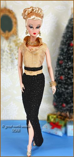 """Silkstone Barbie Capucine wearing """"First Night"""" by Great North Woods Design"""