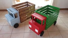 Diy Wooden Projects, Woodworking Projects Diy, Wooden Crafts, Wooden Diy, Crate Crafts, Craft Stick Crafts, Truck Crafts, Diy Cardboard Furniture, Diy Furniture