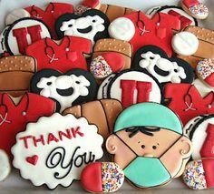 Medical Cookies, by SugarBliss Cookies Galletas Cookies, Iced Cookies, Cut Out Cookies, Cupcake Cookies, Sugar Cookies, Dental Cake, Nurse Cookies, Thank You Cookies, Sugar Cookie Royal Icing