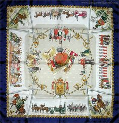"""Entente Cordiale SI for Credit Lyonnais blue 1970 Philippe Ledoux (from <a href=""""http://piwigo.hermesscarf.com/picture?/5326/category/Home"""">HSCI Hermes Scarf Photo Catalogue</a>)"""