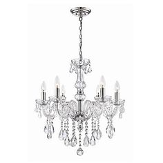The Deamber collection is an elegant addition with sophisticated clear glass arms and suspended teardrop crystals. A touch of class to any décor.