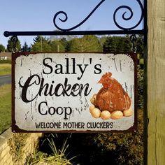 Chicken Coop Garden, Chicken Coop Decor, Chicken Coop Signs, Chicken Humor, Chicken Coops, Personalized Metal Signs, Chicken Feeders, Mum Birthday Gift, Country Signs
