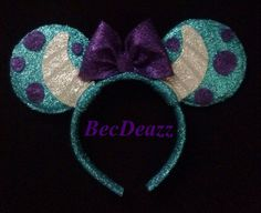 Monsters Inc. Sulley Minnie Mouse Ears headband from EarzbyBecDeazz on Etsy. Saved to Disneyland. Diy Mickey Mouse Ears, Disney Mickey Ears, Disney Bows, Disney Diy, Disney Crafts, Disney Stuff, Mouse Ears Headband, Ear Headbands, Monsters Inc