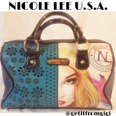 """Nicole Lee Hollywood Bag Such a cute bag! This bag measures 13""""x10""""x7"""". Strap drop is approx. 4"""". Item does have a small smudge on front by emblem.  All hardware is intact and in good condition. Inside is pretty clean except for a few spots from makeup. I have tried to show pictures of imperfections to the best of my ability.  If you have any questions, please feel free to ask. Thanks! Nicole Lee Bags Satchels"""