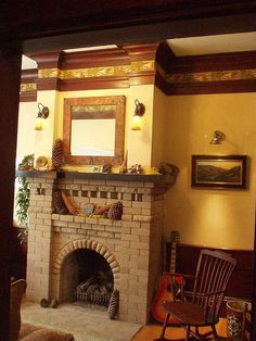 Craftsman Living Room- love the trim and stencil border around the top of the walls! Craftsman Living Rooms, Craftsman Fireplace, Craftsman Interior, Craftsman Furniture, Craftsman Homes, Fireplace Brick, Craftsman Style Bungalow, Craftsman Bungalows, Mission Style Homes