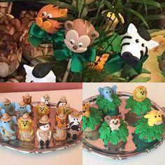 Brigadeiros no palito, trufas modeladas e Cupcakes para festa Safari Disney. #benditosbrigadeiros ...