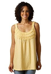 Plus Size Tank top, knit tunic with smocked ruffles image