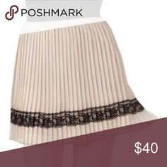Joe Benbasset Lace Trim Pleated Skirt Brand New. This juniors' skirt features lace accents, pleats and a black elastic waistband. Colors: Cream/Black Lace. Imported from Guatemala. Joe Benbasset Skirts Mini