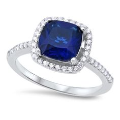 Halo Solitaire Accent Dazzling Wedding Engagement Ring Cushion Cut Simulated Deep Blue Sapphire Pave Round CZ 925 Sterling Silver