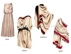 Ancient roman clothing including stola, palla and chlamys. A lot of garments overlapped greek clothing. Rome Fashion, Greek Fashion, Fashion History, Greek Inspired Fashion, Gothic Fashion, Ancient Roman Clothing, Historical Clothing, Toge Romaine, Ancient Greece Fashion