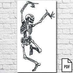 Dancing Skeleton Cross Stitch Pattern [PDF FILE]