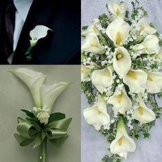 Boutonniere, bridesmaids, bridal bouquet...simple, elegant. Whatcha think??