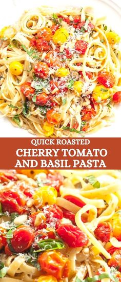 Pasta tossed with quickly roasted cherry tomatoes with garlic and basil. Serve it topped with toasted pine nuts and a generous sprinkling of Parmesan cheese. Homemade roasted tomato pasta sauce done in 15 minutes! Fresh and scrumptious!
