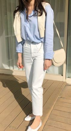 Business Casual Outfits, Cute Casual Outfits, Simple Outfits, Cream Cardigan Outfit, Uniqlo Style, Minimal Outfit, Korean Girl Fashion, Fashion Line, Korean Outfits