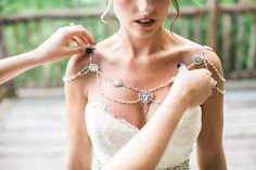 Shoulder Necklace, 1920's, Wedding, Bridal Jewelry, Pearl and Crystal beads…