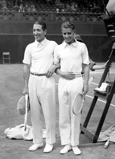 French tennis champion Rene Lacoste, left, and England's Henry W. Austin after their Wimbledon Men's Singles Championship match, London, June 30, 1928. Lacoste won the match 6-4, 6-4, 6-8, 1-6, 6-2. (AP Photo)