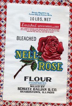 Authentic Vintage Flour Sack Calico Print Material Still Has Original Paper Label nell Rose Self Rising Flour Feed Sack Bags, Feed Sacks, Cotton Mill, Cotton Bag, Flour Sacks, Coffee Sacks, Calico Fabric, Self Rising Flour, Grain Sack
