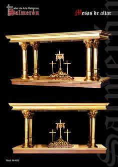Mesas de altar Catholic Altar, Roman Catholic, Diy Wood Desk, Cathedral Basilica, Gothic Furniture, Church Architecture, Church Design, Iglesias, Altars
