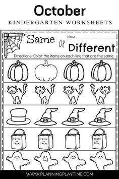 Halloween: Same or Different -October Kindergarten Worksheets Kindergarten Worksheets, Literacy, Activities For Kids, October, Halloween, Activities, Children Activities, Kid Activities, Petite Section