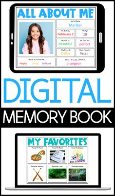 Digital Memory Book for students to complete and reflect on their school year together. Digital activities for Google Classroom and Seesaw for the end of the year. Memory Book for end of the year. Digital slides for making memories about the school year. Google Slides and Seesaw Images.