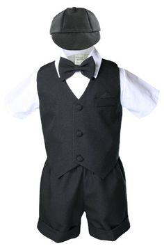 Black Infant Boy Toddler Eton 5 Piece Formal Vest Shorts Set Suit S M L XL (L:(12-18 months)) Lined Vest with a welt pockets. Short sleeve Shirt. Short Pants with cuffs. Matching bow hat. Matching bow Tie.  #Unotux #Apparel