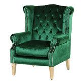 Emerald & Oak Duke Wingback Armchair Found it at Temple & Webster – Emerald & Oak Royale Wingback Arm Chair www. Velvet Wingback Chair, Tufted Dining Chairs, Arm Chairs, Blue Chairs, High Chairs, Beach Chairs, Green Accent Chair, Accent Chairs, Herman Miller
