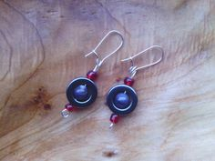 Red and Grey Earrings by PixieMoonCreations on Etsy, $10.00