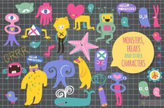 Monsters, Freaks & other characters by kite-kit on Creative Market