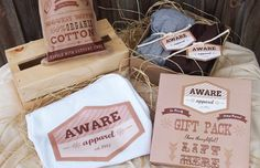 Aware apparel logo identity branding clothing. I like the use of pale plain colours, it works well with the more traditional woodland and hand crafted style with this brand. I especially like the layout they have used to display the products.