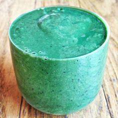 Spirulina Smoothie Recipe Beverages with bananas, frozen blueberries, spinach, kale, water, chia seeds, hemp protein powder, spirulina powder, medjool date