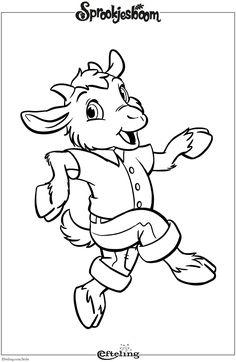 Geitje Benjamin van Sprookjesboom. Efteling kleurplaat. Coloring Pages For Boys, Animal Coloring Pages, Colouring Pages, Coloring Sheets, Coloring Books, Bujo Doodles, Wolf, Crochet Blanket Patterns, Disney Cartoons