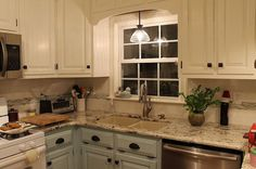 kitchen renovation, home decor, kitchen backsplash, kitchen design, New cabinet design above the sink with a pendant light addition