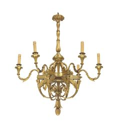 A FRENCH ORMOLU SIX-LIGHT CHANDELIER 19TH CENTURY.