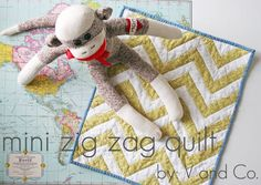 V and Co how to: mini zig zag quilt ~ Holli has been asking for a quilt for her dolls. This would be perfect.