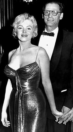 "Marilyn Monroe and Arthur Miller at the Royal Film Performance of ""The Battle of The River Plate"" at the Empire Theatre in London, October 29th 1956."
