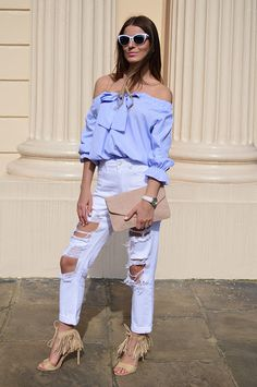 Ripped jeans & cold shoulders top