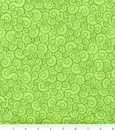 Keepsake Calico Cotton Fabric- Swirl Lime Garden