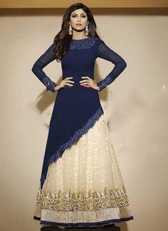 Shilpa Shetty Blue Georgette Cut Work Anarkali Suit http://www.angelnx.com/Salwar-Kameez/Bollywood-Salwar#/sort=p.date_added/order=DESC/limit=32/page=2