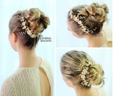 Gold wedding hair piece with flower and leaves for bride Bridal Hair Vine, Wedding Hair Pieces, Bridal Lingerie, Gold Wedding, Vines, Wedding Hairstyles, Leaves, Bride, Trending Outfits